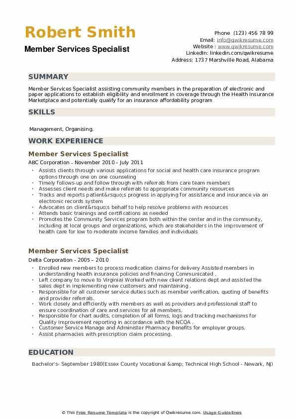 Member Services Specialist Resume example