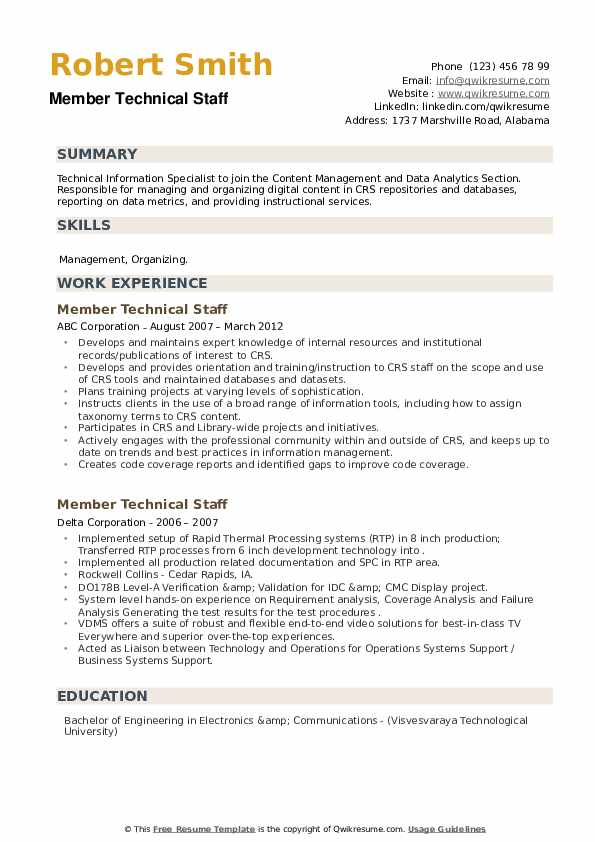 Member Technical Staff Resume example