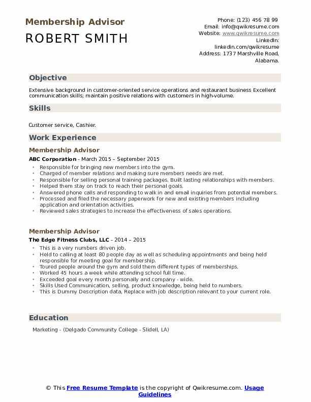 Membership Advisor Resume example