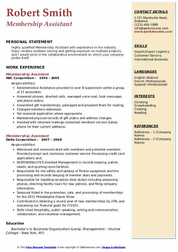 Membership Assistant Resume example