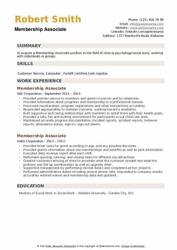 Membership Associate Resume example