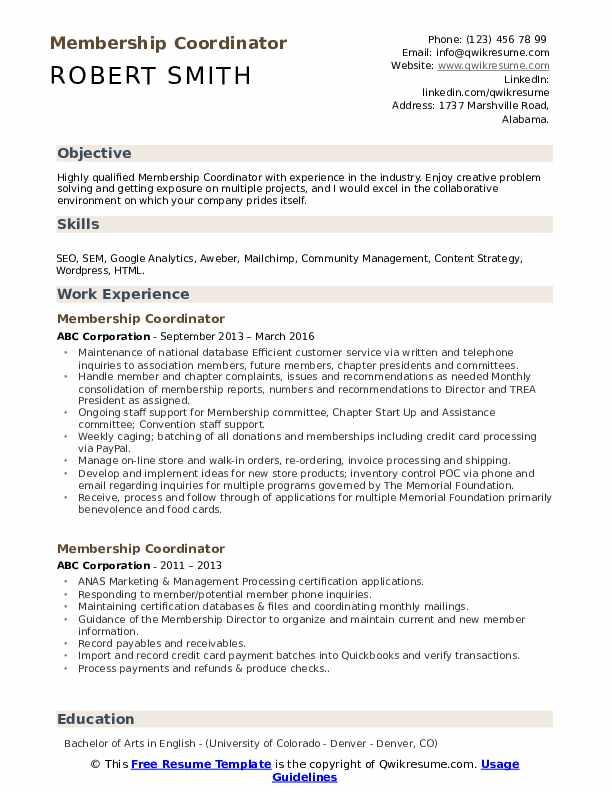 Membership Coordinator Resume Format
