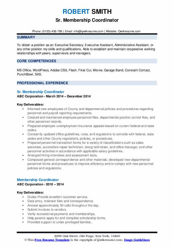Sr. Membership Coordinator Resume Format