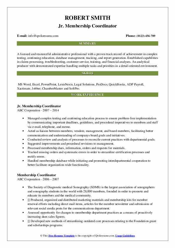 Jr. Membership Coordinator Resume Model