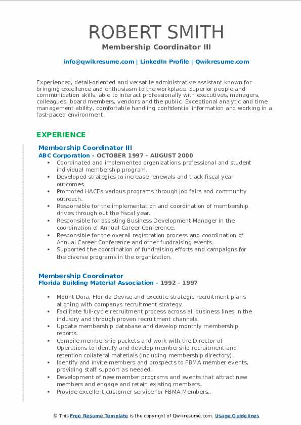 Membership Coordinator III Resume Example