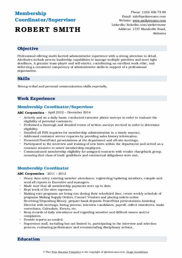Membership Coordinator/Supervisor Resume Model