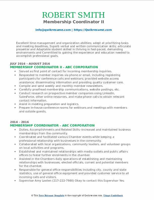 Membership Coordinator II Resume Format