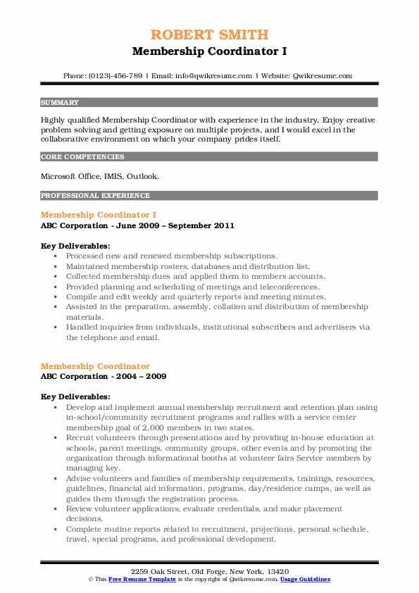Membership Coordinator I Resume Model
