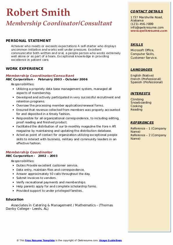 Membership Coordinator/Consultant Resume Model