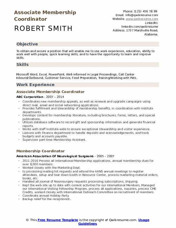 Associate Membership Coordinator Resume Sample