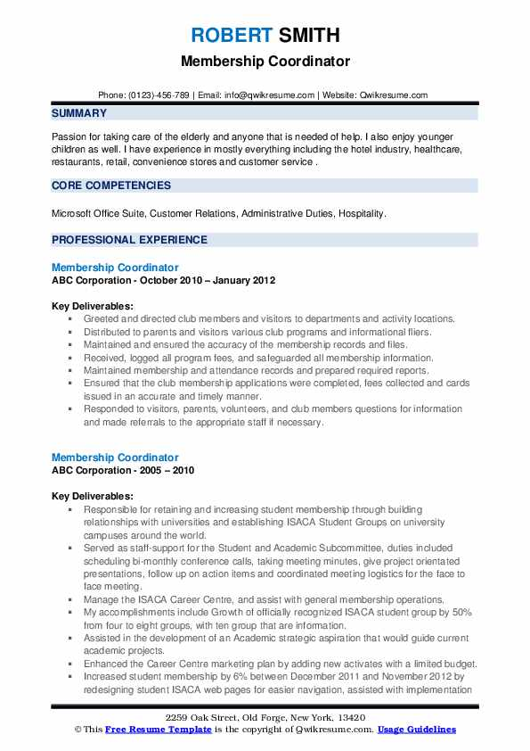 Membership Coordinator Resume example