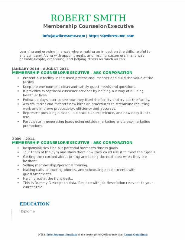 membership counselor resume samples