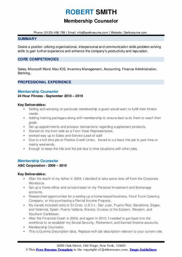 Membership Counselor Resume example