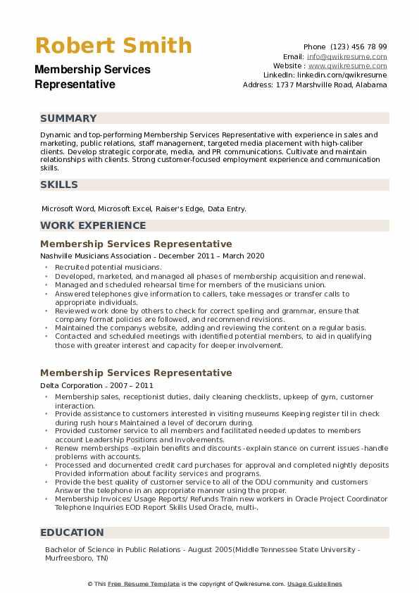 Membership Services Representative Resume example