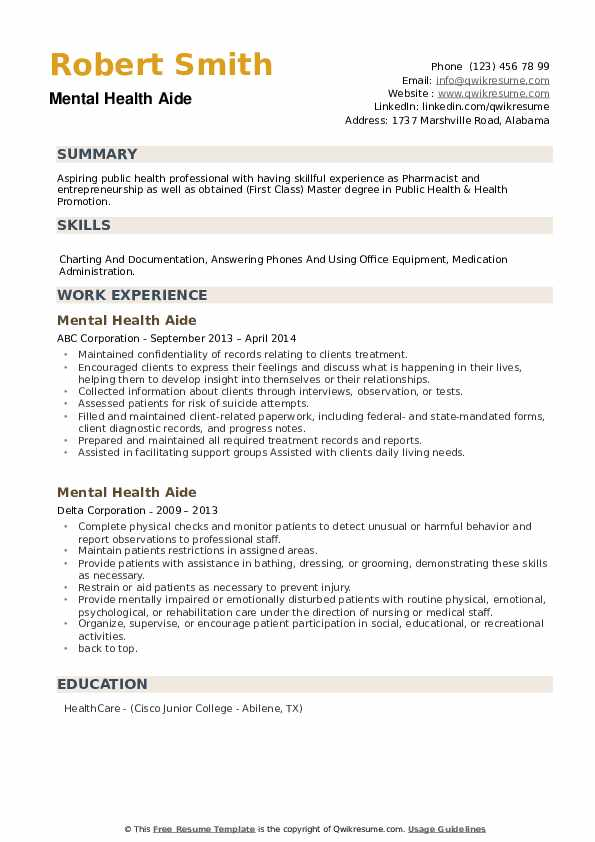 Mental Health Aide Resume example