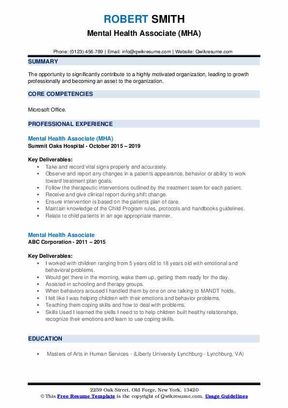 Mental Health Associate (MHA) Resume Sample