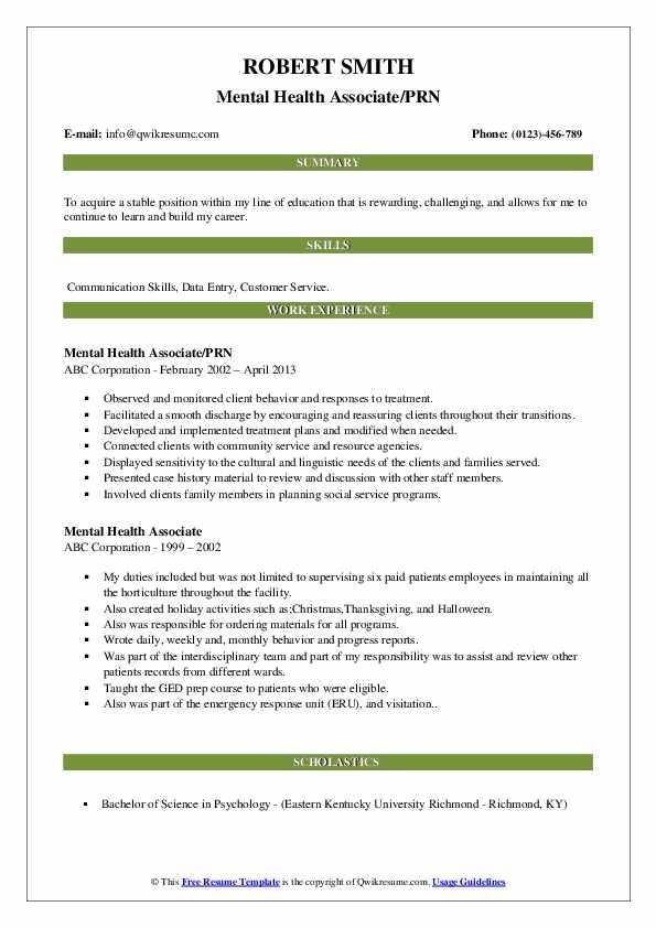 Mental Health Associate/PRN Resume Template