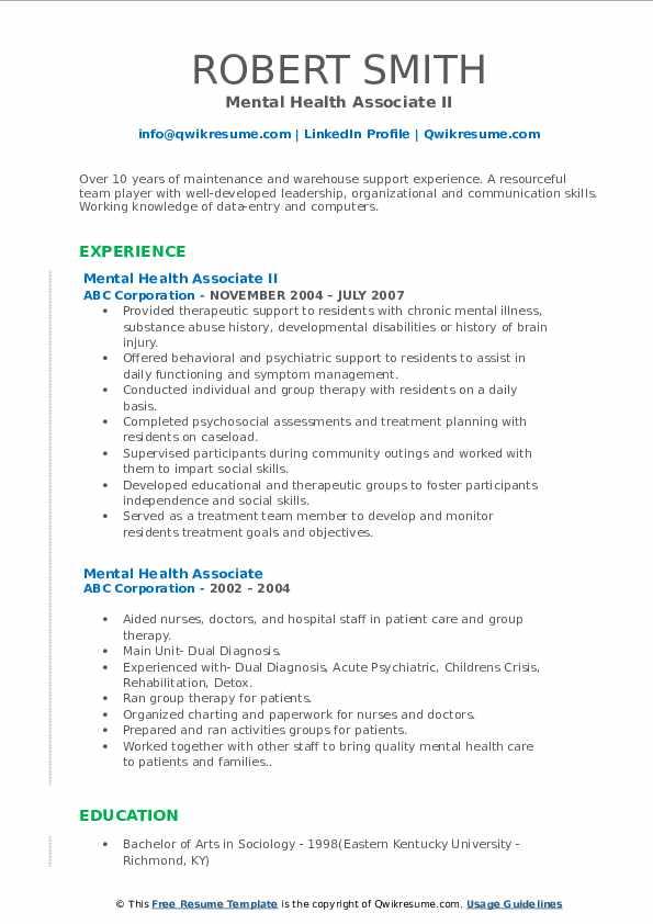 Mental Health Associate II Resume Sample