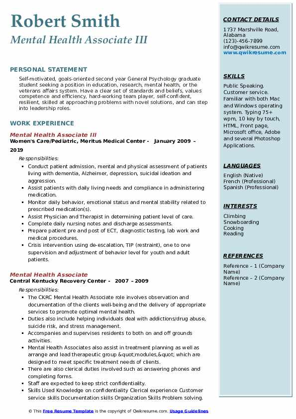 Mental Health Associate III Resume Sample