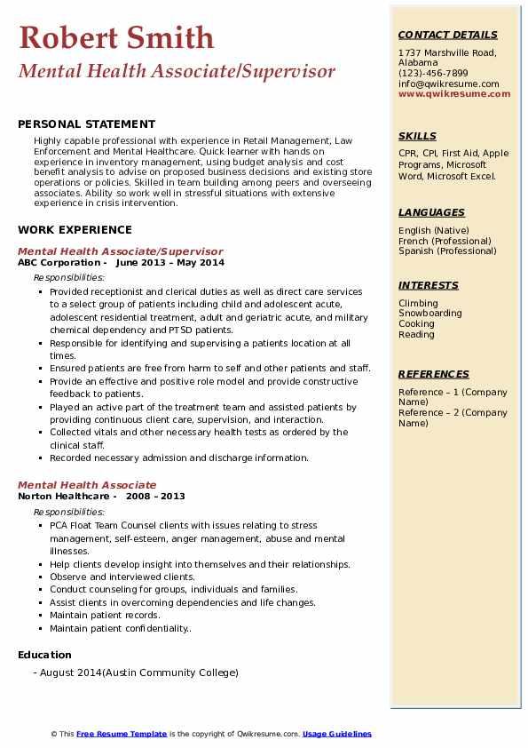 Mental Health Associate/Supervisor Resume Template