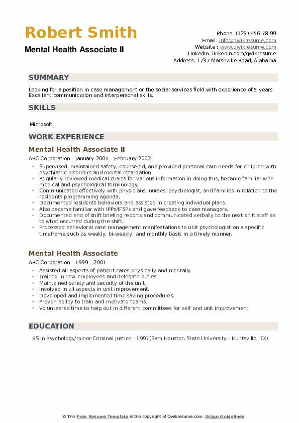 Mental Health Associate II Resume Template