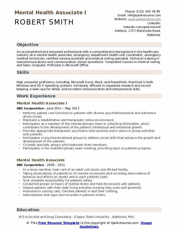 Mental Health Associate I Resume Format