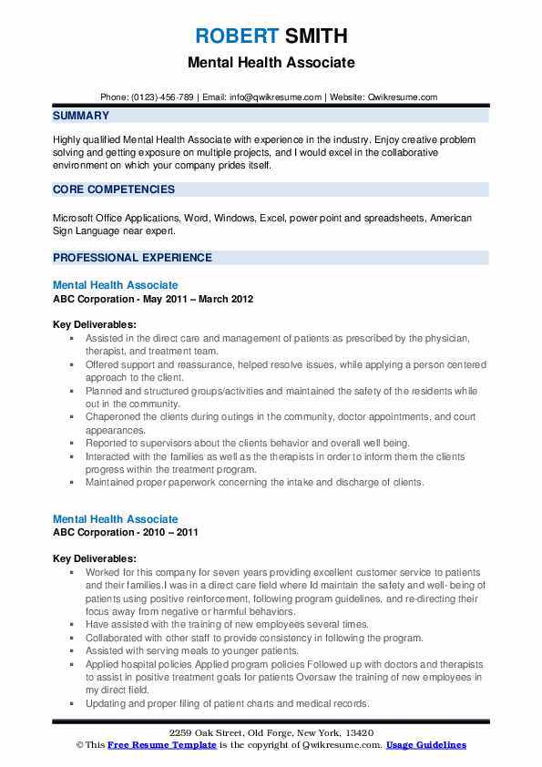 Mental Health Associate Resume example