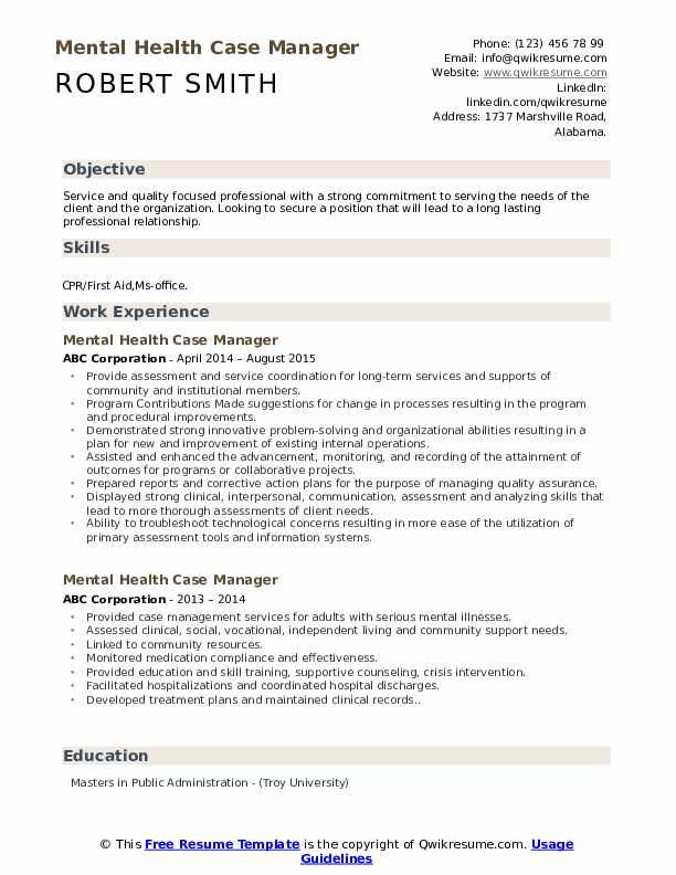 Mental Health Case Manager Resume Sample