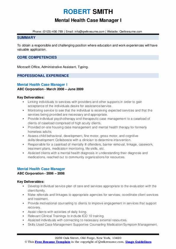 Mental Health Case Manager I Resume Format