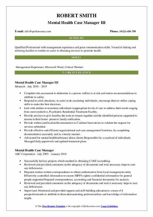 Mental Health Case Manager III Resume Sample