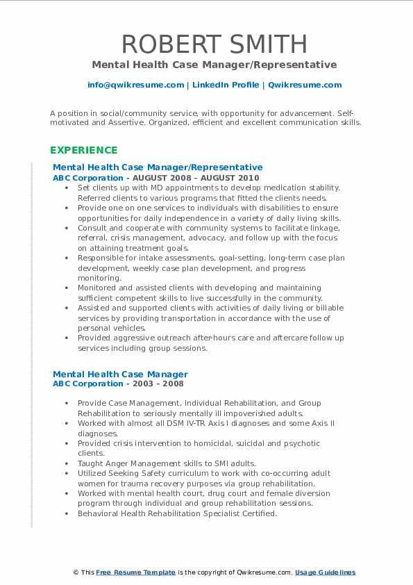 Mental Health Case Manager/Representative Resume Template