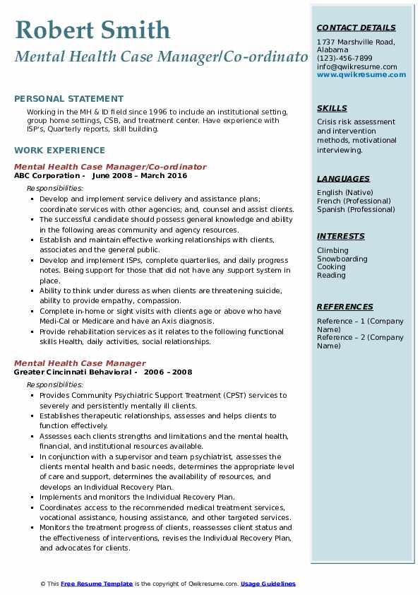 Mental Health Case Manager/Co-ordinator Resume Sample