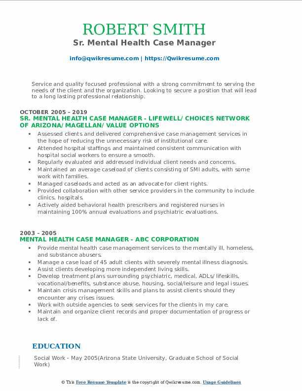 Sr. Mental Health Case Manager Resume Format