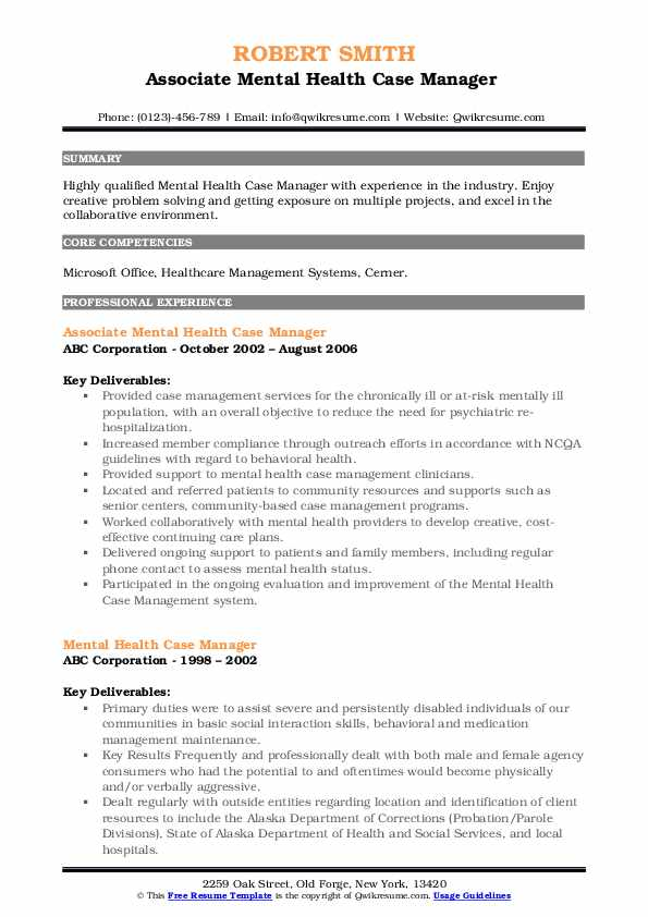 Associate Mental Health Case Manager  Resume Example