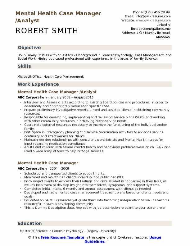 Mental Health Case Manager /Analyst Resume Sample