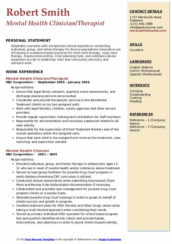 Mental Health Clinician/Therapist Resume Sample