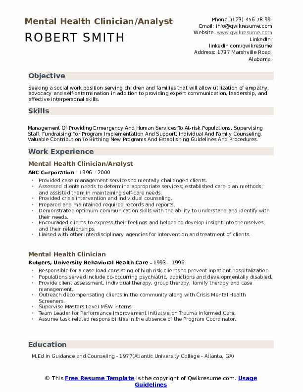 Mental Health Clinician/Analyst Resume Format