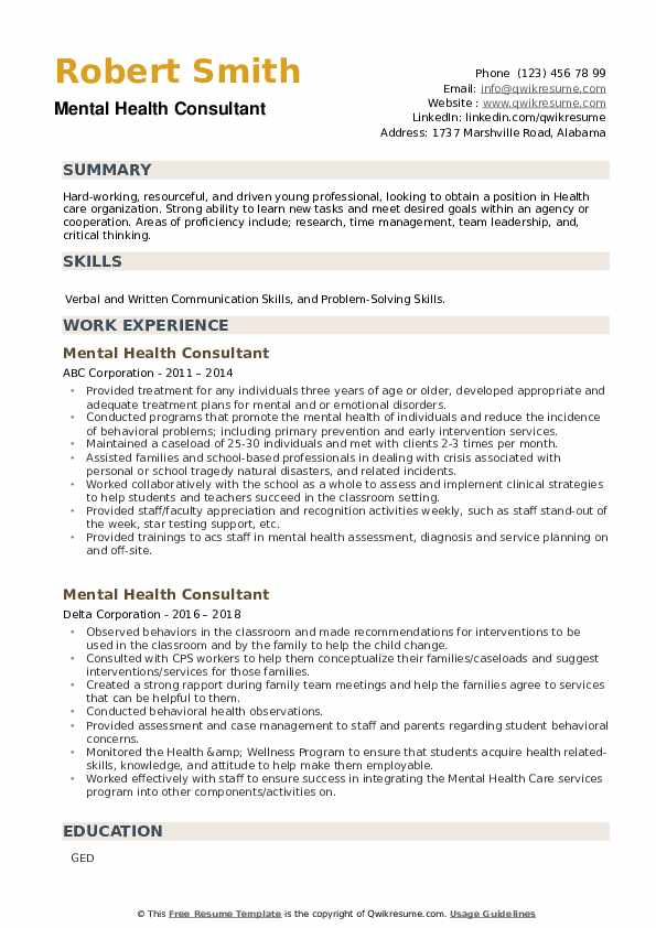 Mental Health Consultant Resume example