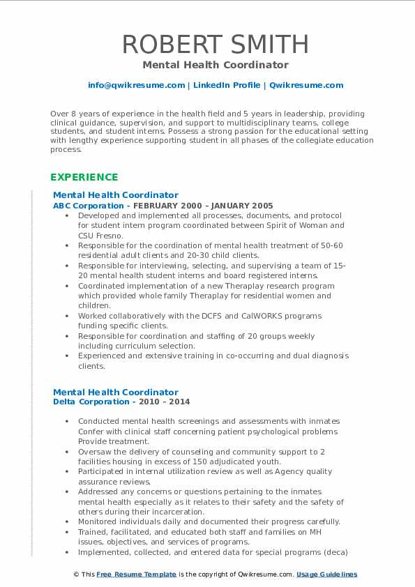 Mental Health Coordinator Resume Samples | QwikResume