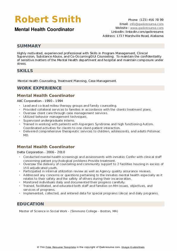 Mental Health Coordinator Resume example