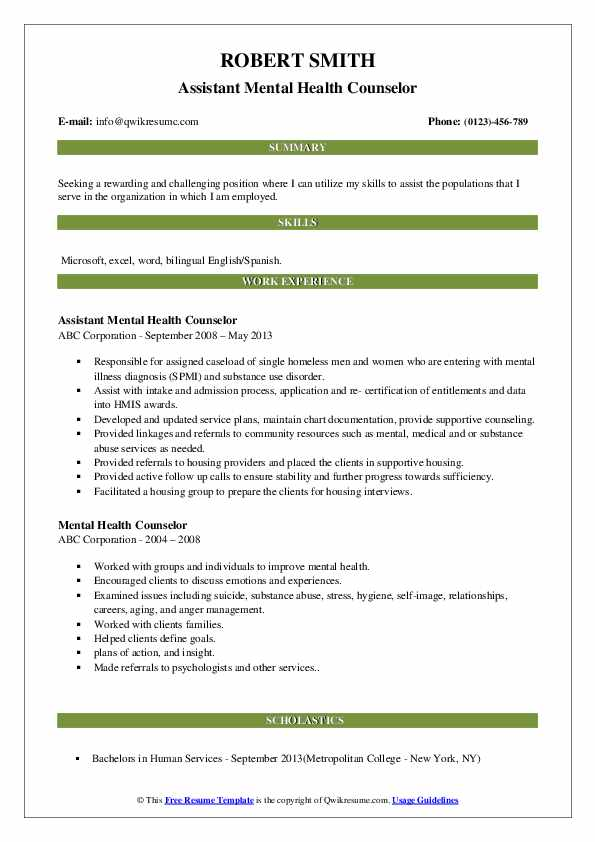 Assistant Mental Health Counselor Resume Example