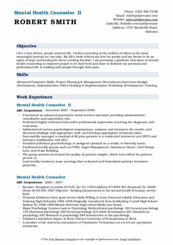 Mental Health Counselor  II Resume Example