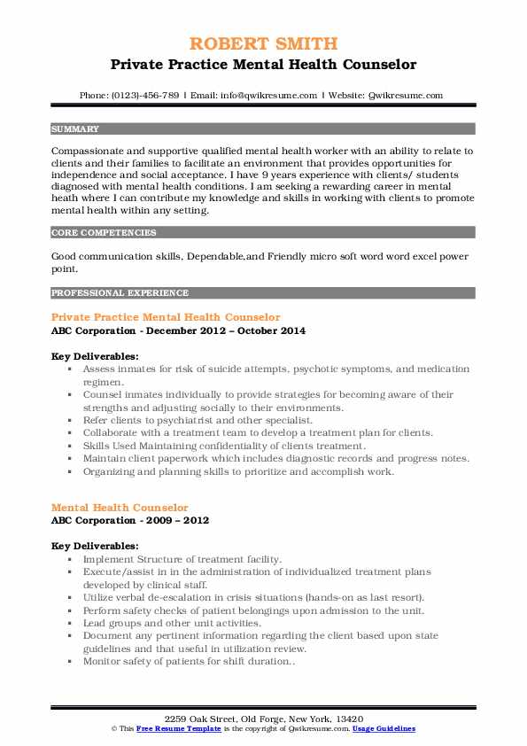 mental health counselor resume samples