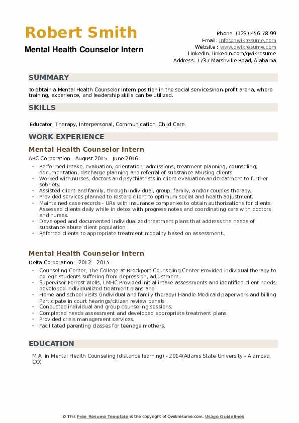 Mental Health Counselor Intern Resume example