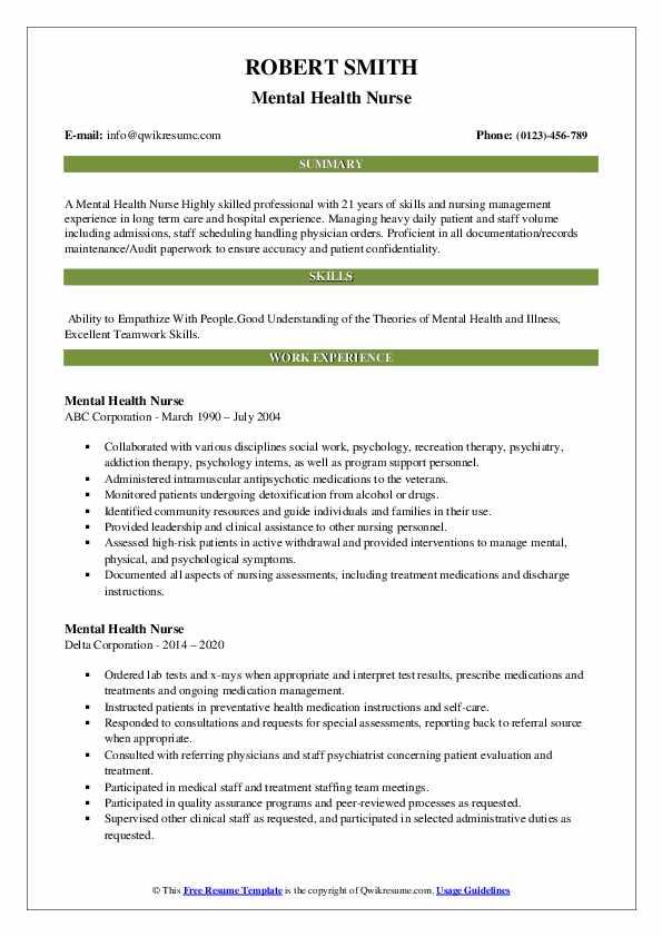 Mental Health Nurse Resume Samples | QwikResume