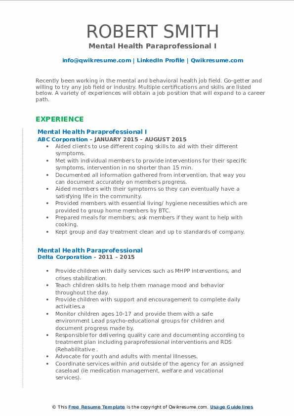 mental health paraprofessional resume samples  qwikresume