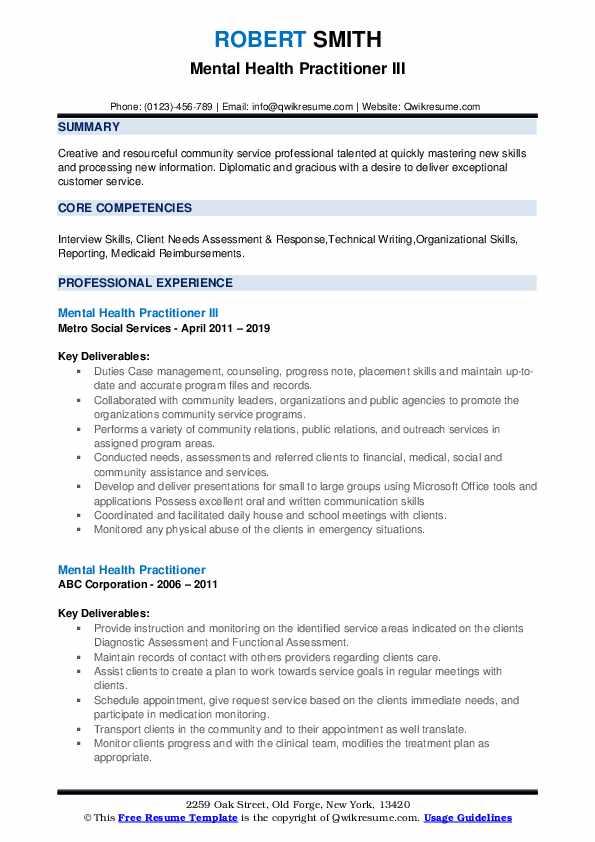 Mental Health Practitioner Resume Samples | QwikResume
