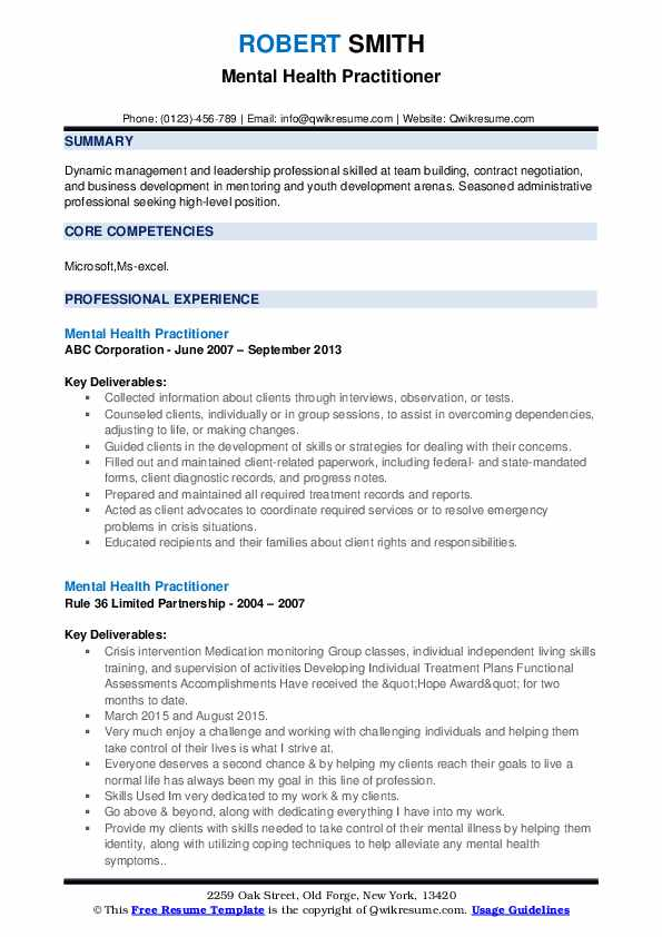 Mental Health Case Manager Resume example