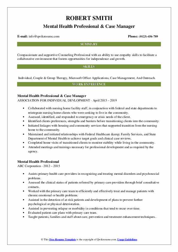 Mental Health Professional & Case Manager Resume Template