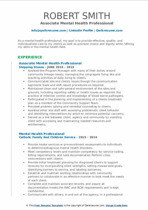 Associate Mental Health Professional Resume Template